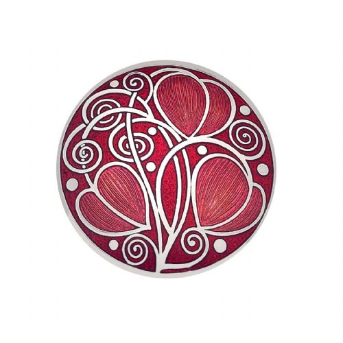 Mackintosh Leaves and Coils Brooch Red Silver Plated Brand New Gift Packaging